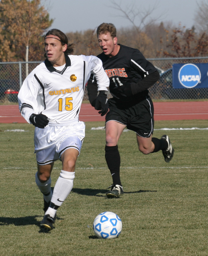 #15 Joe Hartwell dribbles up field in last year's national tournament game versus Wartburg.