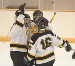 The Gusties celebrate after scoring their first goal of the game