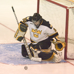 Goalkeeper Scott Mickelson records a save for Gustavus