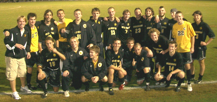 The Gusties celebrate after defeating Trinity 1-0 in the NCAA Sectional on Friday, November 19.