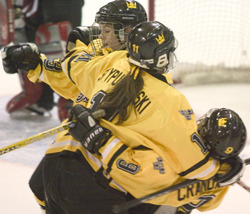Laura Stypulkowski celebrates a Gustie goal.
