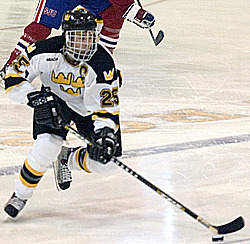 #25 Drew Keller skates up the ice on Saturday afternoon.