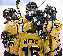 Ingrid Neve celebrates her first goal of the game in the first period.