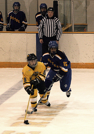 Kelly Crandall looks up the ice for the Gusties.
