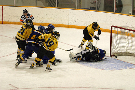 Brittany Northagen (#21) scores the second goal of the game for the Gusties.
