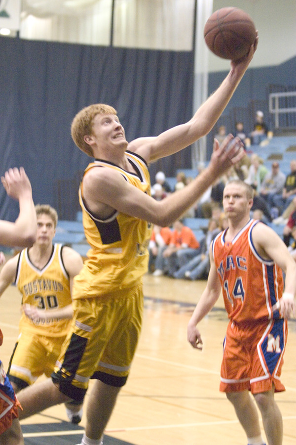 Doug Espenson makes a lay-up against the Scots.