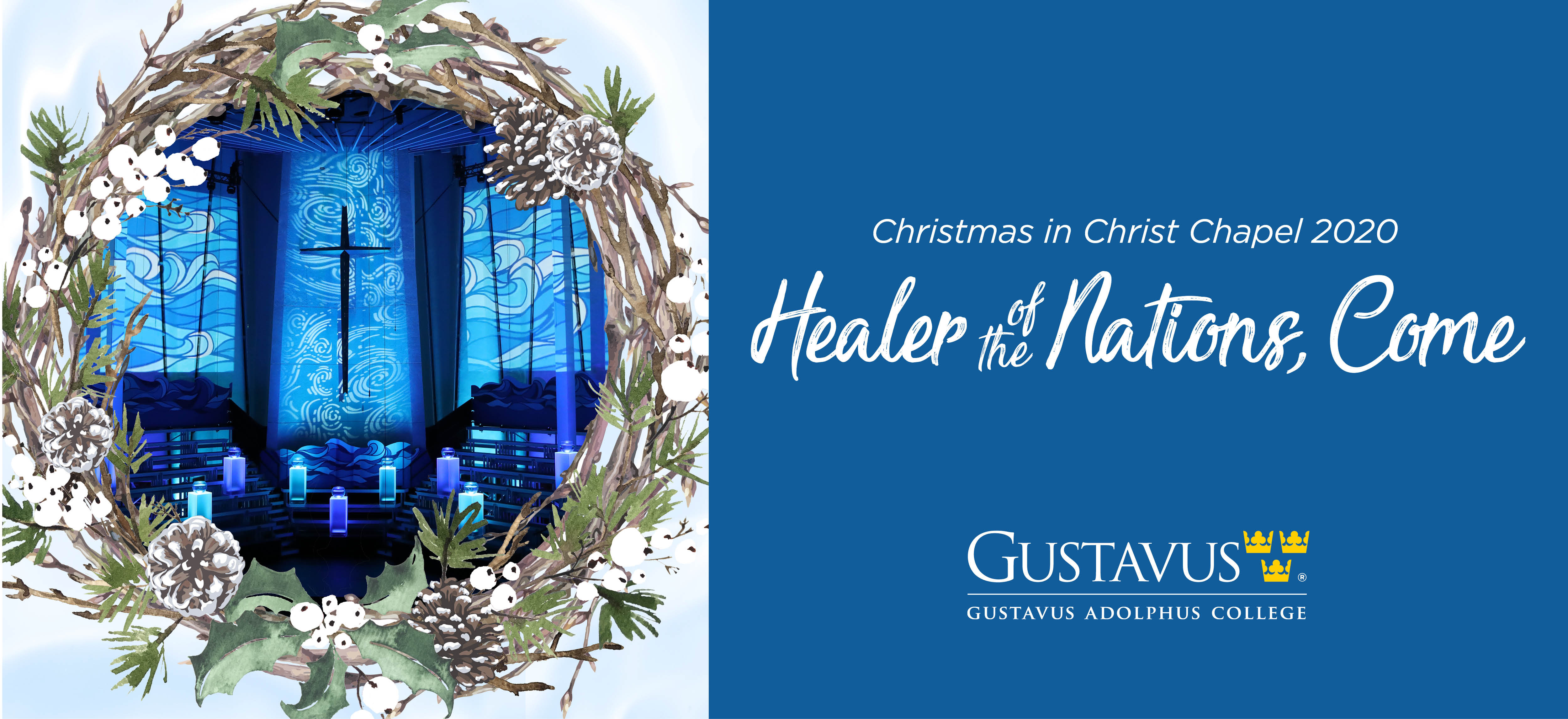 Christmas in Christ Chapel 2020 logo in blue with cross in center of wreath