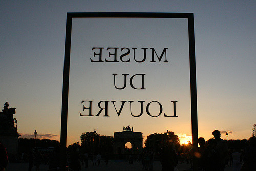 Louvre Sign at Sunset