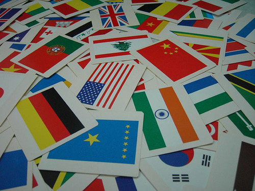 Cards with Flags of Many Countries