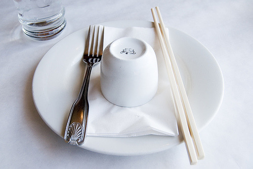 Place Setting with Chopsticks and Fork